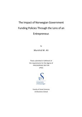 Cover for The Impact of Norwegian Government Funding Policies Through the Lens of an Entrepreneur