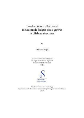 Cover for Load sequence effects and mixed-mode fatigue crack growth in offshore structures