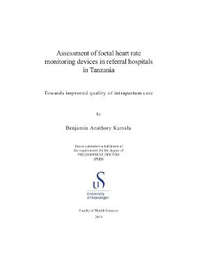 Cover for Assessment of foetal heart rate monitoring devices in referral hospitals in Tanzania: Towards improved quality of intrapartum care