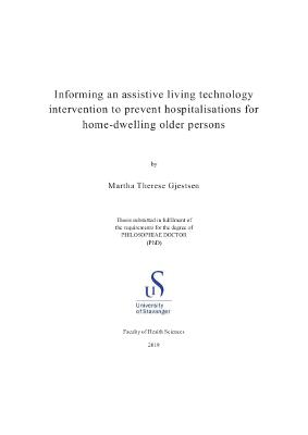 Cover for Informing an assistive living technology intervention to prevent hospitalisations for home-dwelling older persons