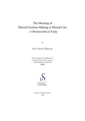 Cover for The Meaning of Shared Decision-Making in Mental Care: A Hermeneutical Study