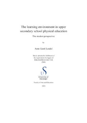 Cover for The learning environment in upper secondary school physical education: The student perspective