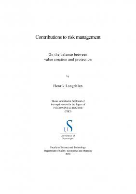 Cover for Contributions to risk management : On the balance between value creation and protection