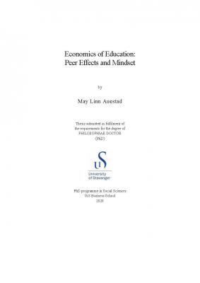 Cover for Economics of Education: Peer Effects and Mindset