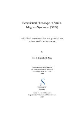 Cover for Behavioural Phenotype of Smith-Magenis Syndrome (SMS): Individual characteristics and parental and school staff's experiences