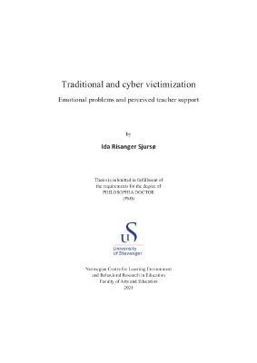 Cover for Traditional and cyber victimization: Emotional problems and perceived teacher support