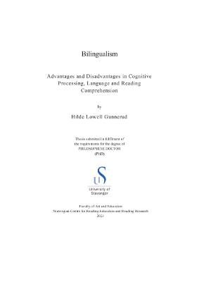 Cover for Bilingualism: Advantages and Disadvantages in Cognitive Processing, Language and Reading Comprehension