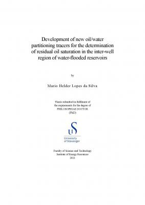 Cover for Development of new oil/water partitioning tracers for the determination of residual oil saturation in the inter-well region of water-flooded reservoirs
