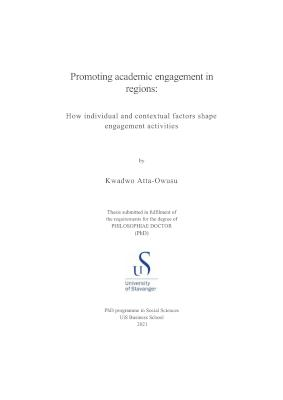 Cover for Promoting academic engagement in regions: How individual and contextual factors shape engagement activities