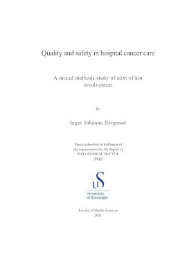 Cover for Quality and safety in hospital cancer care: A mixed methods study of next of kin involvement