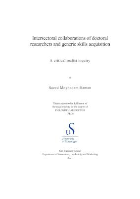 Cover for Intersectoral collaborations of doctoral researchers and generic skills acquisition: A critical realist inquiry