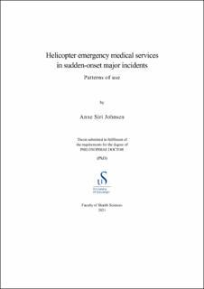 Cover for Helicopter emergency medical services in sudden-onset major incidents: Patterns of use