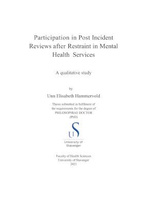 Cover for Participation in Post Incident Reviews after Restraint in Mental Health Services: A qualitative study